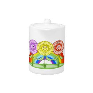 Freundlicher Blumen-Tee-Topf