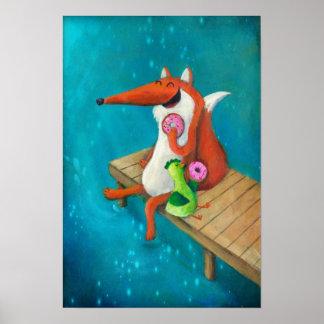 Freundlicher Fox und Huhn, die Schaumgummiringe is Poster