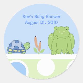 Freundlicher Frosch-und Schildkröte-Gewohnheits-Au Runde Aufkleber