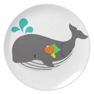Freundlicher Wal Melaminteller