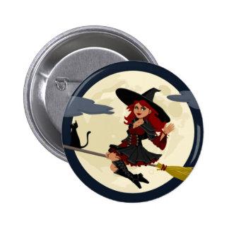 Freundliches Hexe-Wellenartig bewegen Runder Button 5,7 Cm