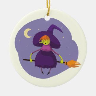 Freundliches Hexefliegen auf Besenkindern Keramik Ornament