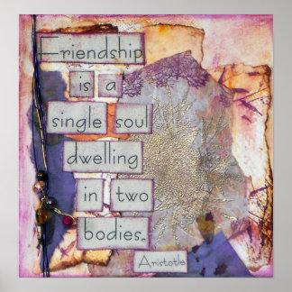 Freundschaft ist ein Single-Soul-Zitat-Mischmedien Poster