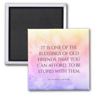Freundschafts-Zitat-hübsches Rosa Quadratischer Magnet