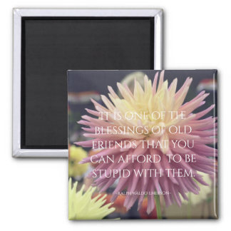 Freundschafts-Zitat-Rosa-Dahlie Quadratischer Magnet