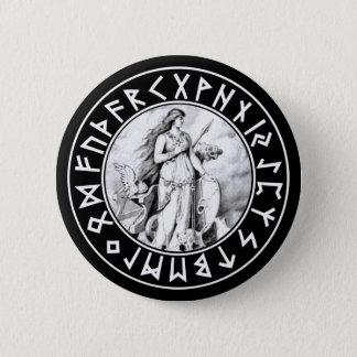 Freya Rune-Schild auf Schwarzem Runder Button 5,1 Cm