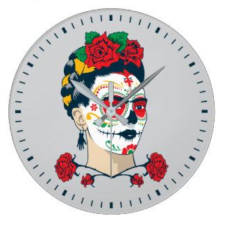 Frida Kahlo   El Día de Los Muertos Große Wanduhr