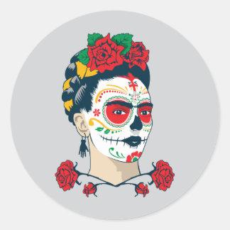 Frida Kahlo   El Día de Los Muertos Runder Aufkleber