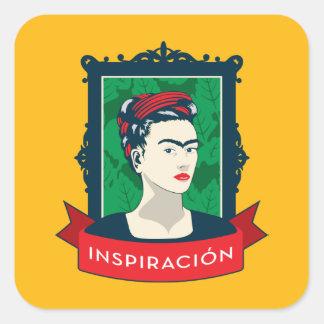 Frida Kahlo   Inspiración Quadratischer Aufkleber