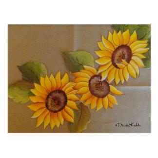 Frida Kahlo malte Sonnenblumen Postkarte