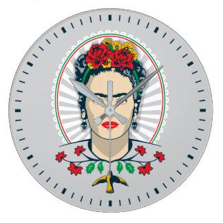 Frida Kahlo   Vintages Blumen Große Wanduhr