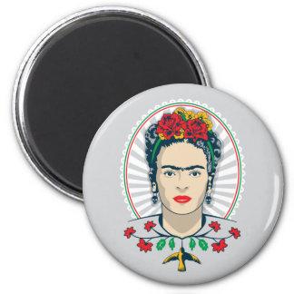 Frida Kahlo | Vintages Blumen Runder Magnet 5,1 Cm