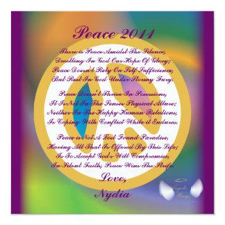 Frieden 2011, ein Gedicht Karte-Fertigen besonders Quadratische 13,3 Cm Einladungskarte