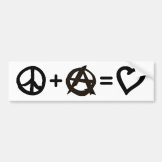 Frieden + Anarchie = Liebe Autoaufkleber