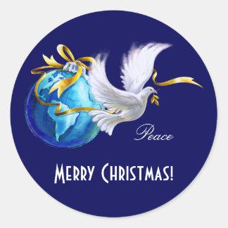 Frieden auf Earth.Customizable Runder Aufkleber