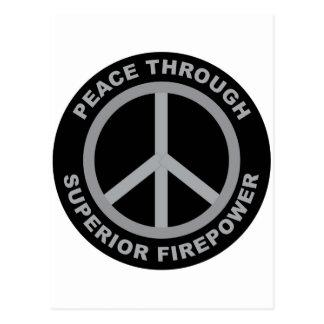 Frieden durch überlegene Feuerkraft Postkarte