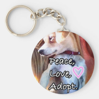 Frieden, Liebe, adoptieren Rettungs-Hund Keychain Schlüsselanhänger