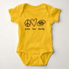 Frieden, Liebe, Baby-Ausstattung teilend Baby Strampler