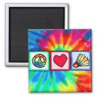 Frieden, Liebe, Badminton Quadratischer Magnet