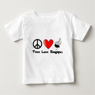 Frieden, Liebe, Bagpipes Baby T-shirt