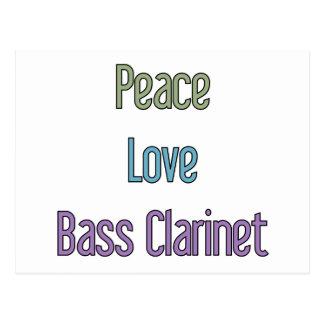 Frieden, Liebe, Bassklarinette Postkarte