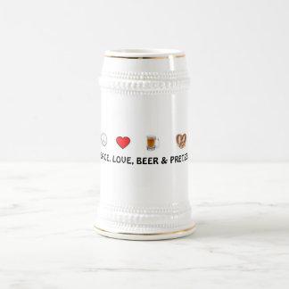 Frieden, Liebe, Bier u. Brezeln Stein Bierglas