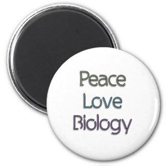 Frieden, Liebe, Biologie Runder Magnet 5,7 Cm