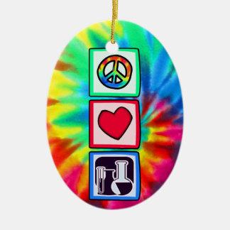 Frieden, Liebe, Chemie Ovales Keramik Ornament