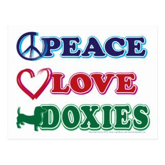 Frieden-Liebe-Dackeln Dachsund Postkarte
