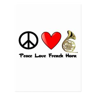 Frieden, Liebe, französisches Horn Postkarte