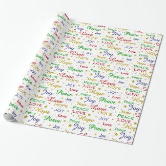 Frieden, Liebe, Freude, Hoffnung Geschenkpapier