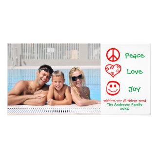 Frieden, Liebe, Freude rot/Grün - Fotokarte Karte