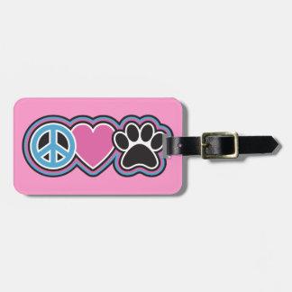 Frieden-Liebe-Haustiere Kofferanhänger