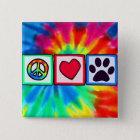 Frieden, Liebe, Hund; Pawprint Quadratischer Button 5,1 Cm