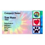 Frieden, Liebe, Hund; Pawprint Visitenkartenvorlage