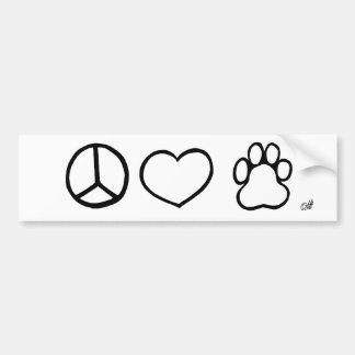 Frieden, Liebe, Hunde Autoaufkleber