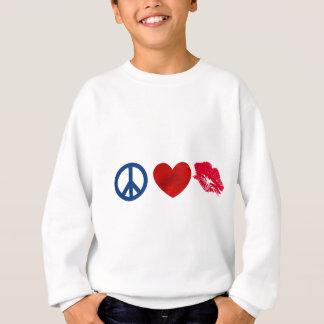 Frieden, Liebe, Lippenstift-Kuss Sweatshirt