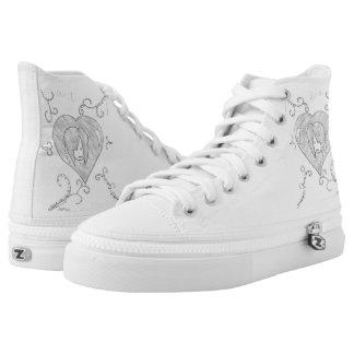 Frieden, Liebe, Livec$hallo-spitzen Hoch-geschnittene Sneaker