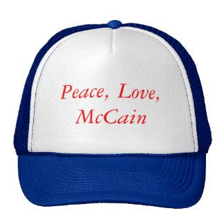Frieden, Liebe, McCain Kult Mützen