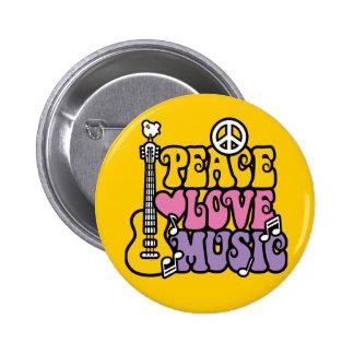 Frieden-Liebe-Musik Runder Button 5,1 Cm