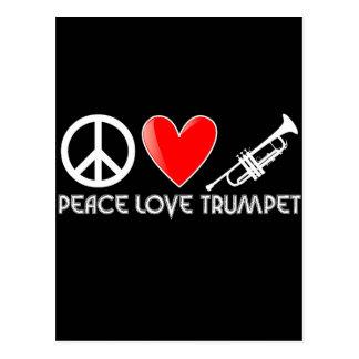 Frieden, Liebe, Trompete Postkarte
