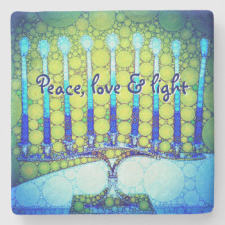 """""""Frieden, Liebe u. helles"""" blaues Foto Chanukkas Steinuntersetzer"""
