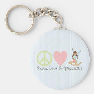 Frieden, Liebe und Gymnastik brünett Schlüsselanhänger