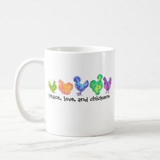 Frieden, Liebe und Huhn-Tasse Kaffeetasse