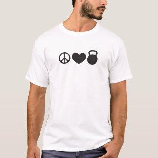 """Frieden, Liebe und Kettlebell"""" Fitness-T-Stück T-Shirt"""