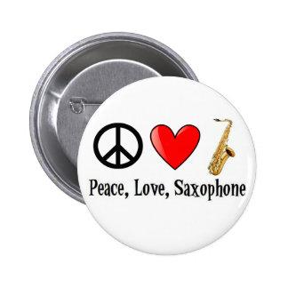 Frieden Liebe und Saxophone Buttons