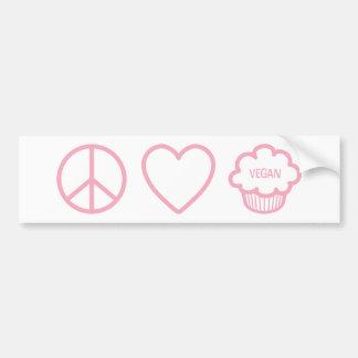 Frieden, Liebe und vegane kleine Kuchen Auto Aufkleber