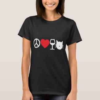 Frieden, Liebe, Wein und Katzen (dunkel) T-Shirt