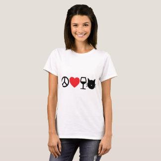Frieden, Liebe, Wein und Katzen T-Shirt