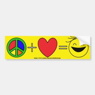 Frieden plus Liebe entspricht Glück (Gelb) Autoaufkleber